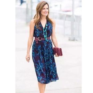 Cabi Treasure Paisley Floral Wrap Midi Dress Blue